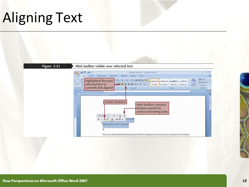 Aligning Text New Perspectives on Microsoft Office Word 2007