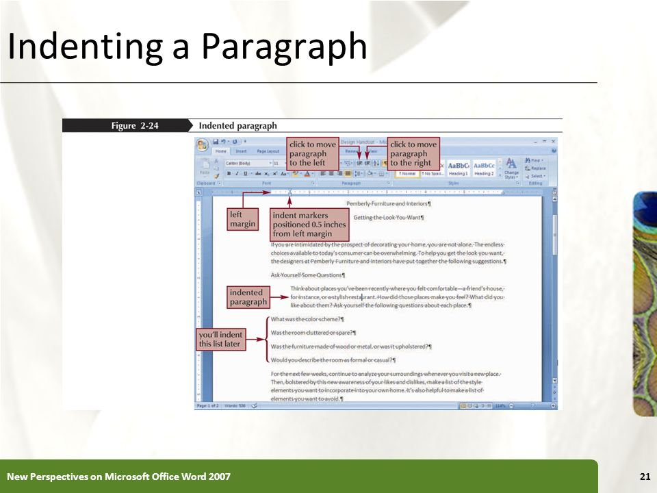 Indenting a Paragraph New Perspectives on Microsoft Office Word 2007