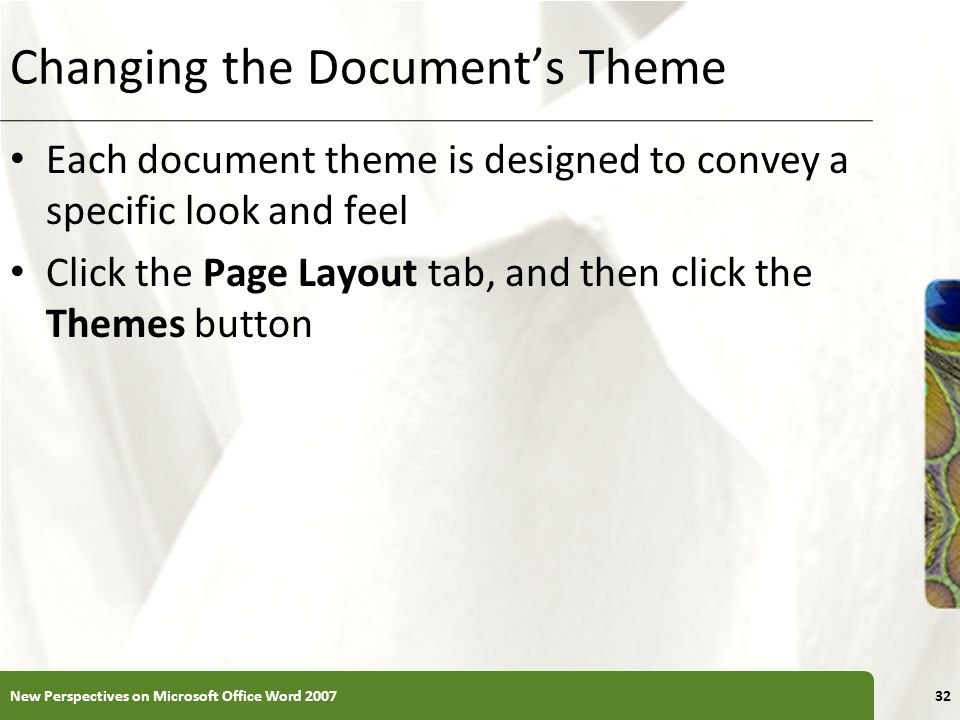 Changing the Document's Theme