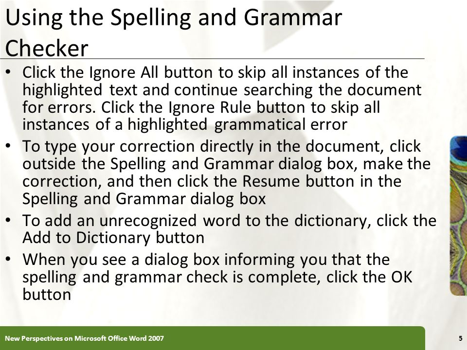Using the Spelling and Grammar Checker
