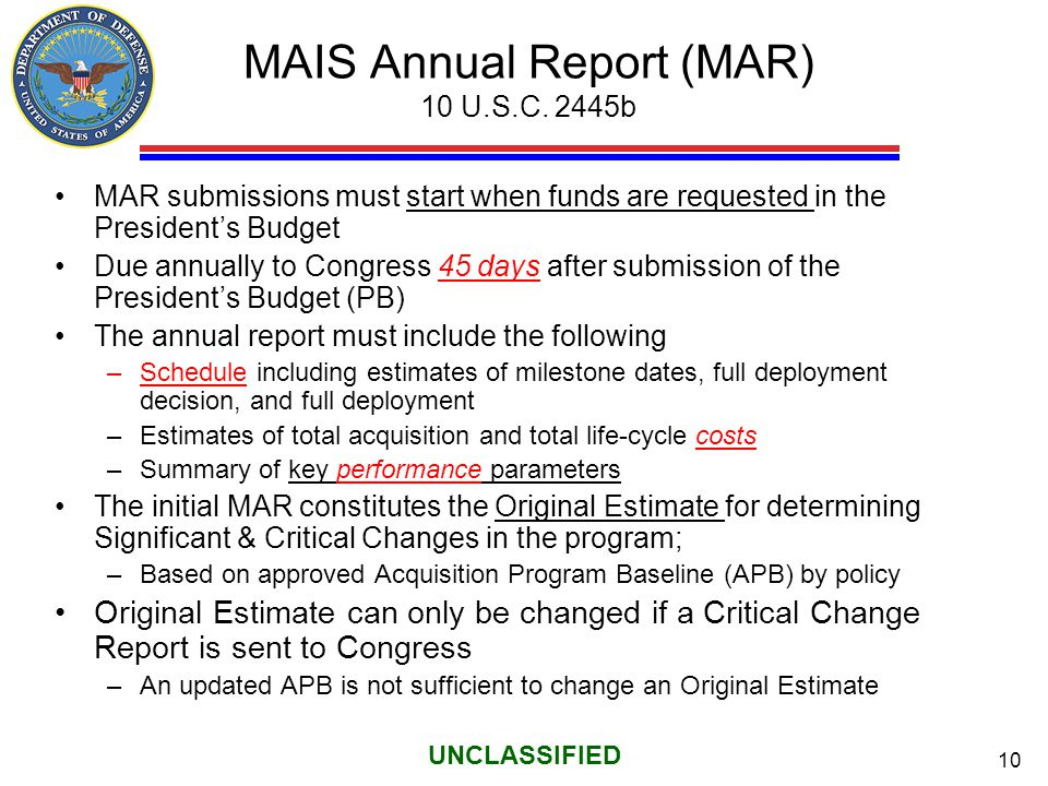 MAIS Annual Report (MAR) 10 U.S.C. 2445b