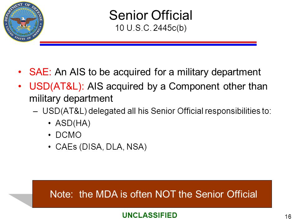 Senior Official 10 U.S.C. 2445c(b)