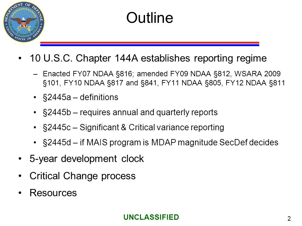 Outline 10 U.S.C. Chapter 144A establishes reporting regime