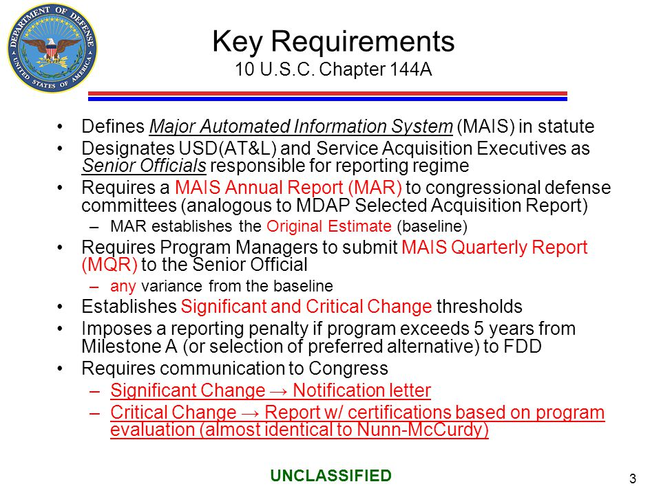 Key Requirements 10 U.S.C. Chapter 144A