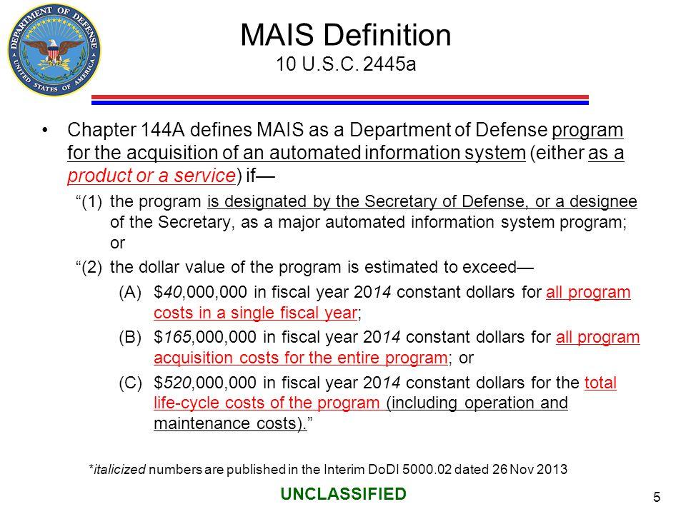 MAIS Definition 10 U.S.C. 2445a