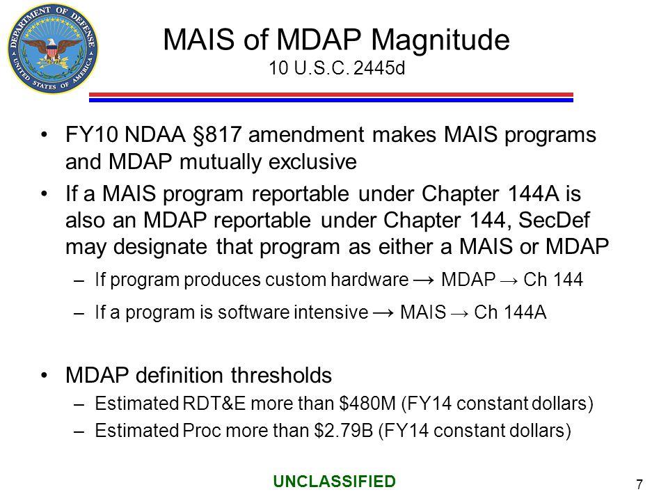 MAIS of MDAP Magnitude 10 U.S.C. 2445d
