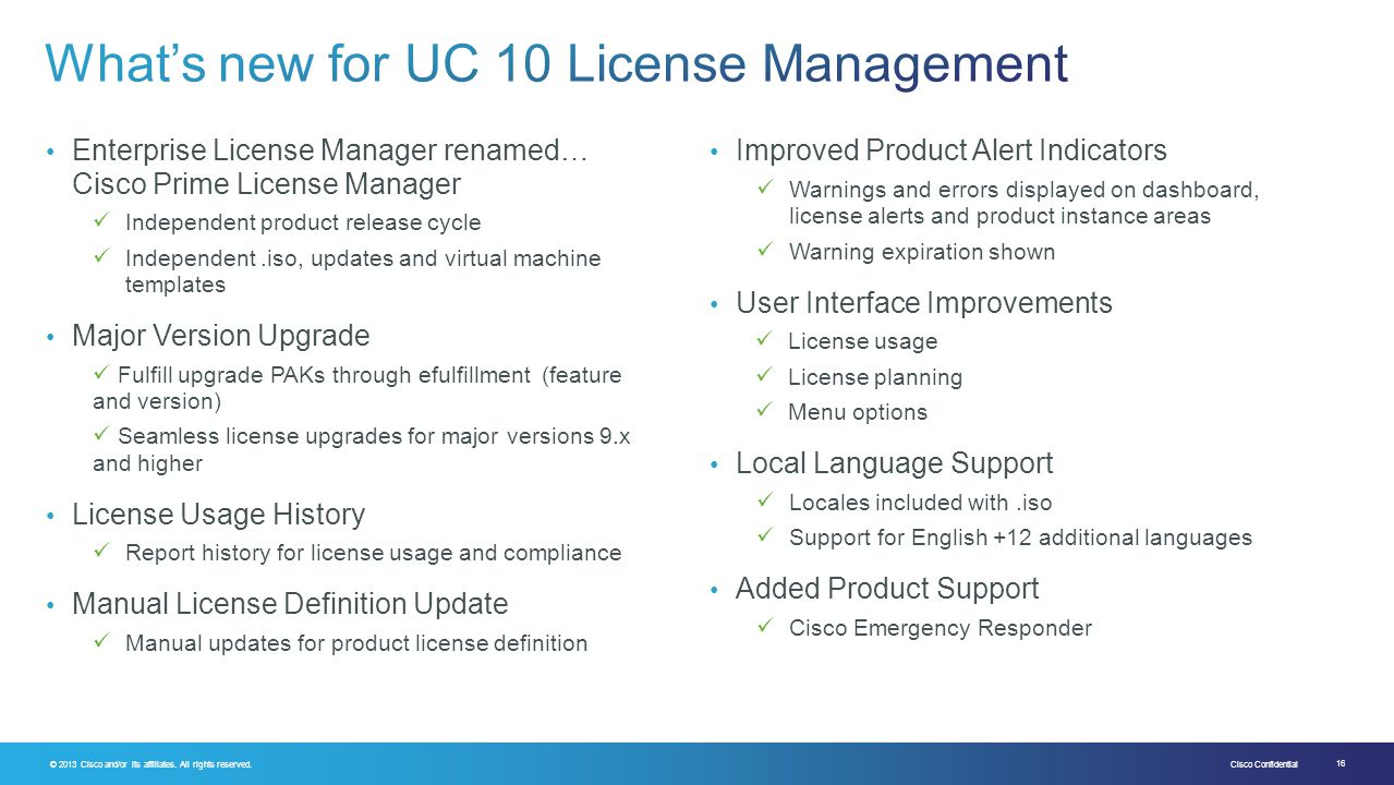 What's new for UC 10 License Management