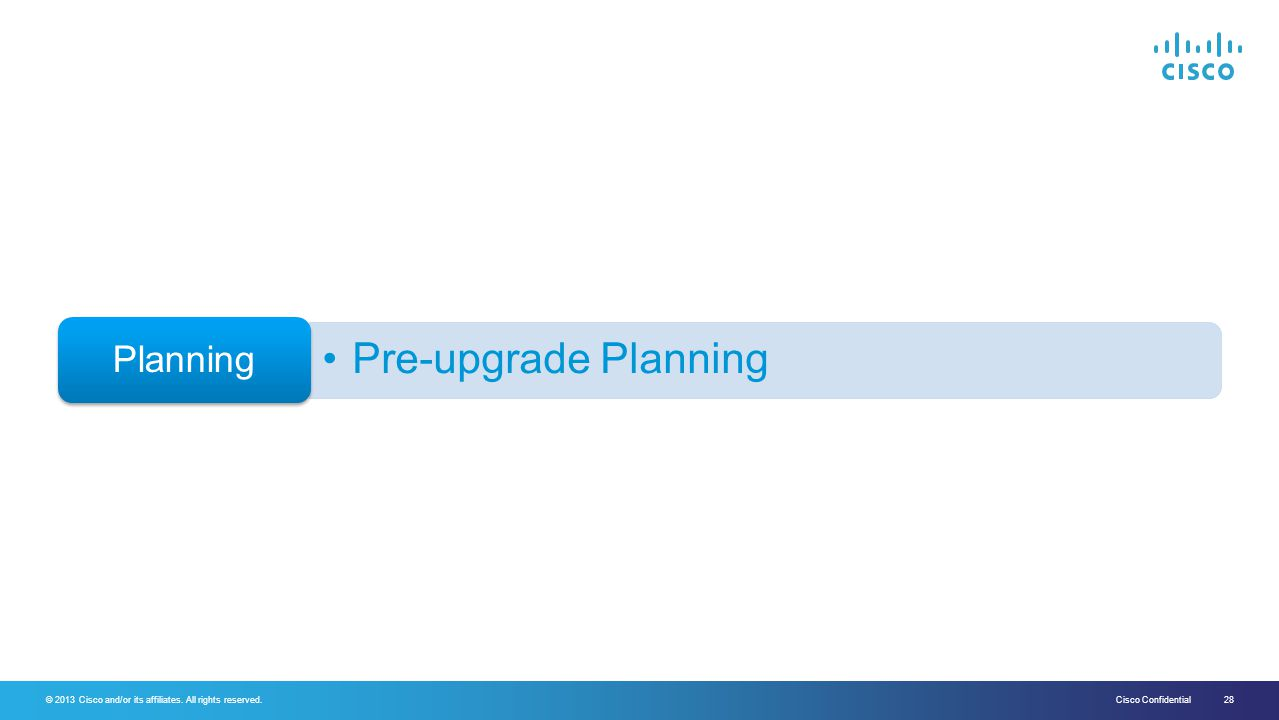 Planning Pre-upgrade Planning