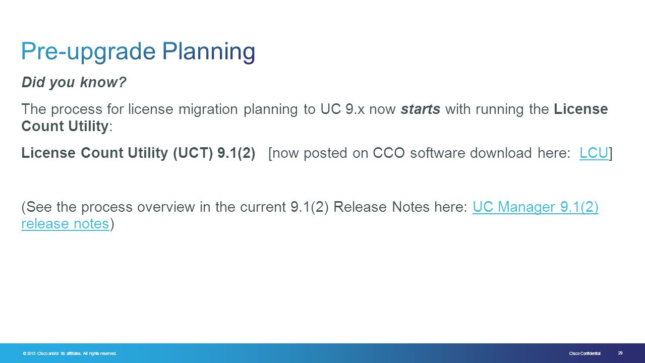 Pre-upgrade Planning Did you know