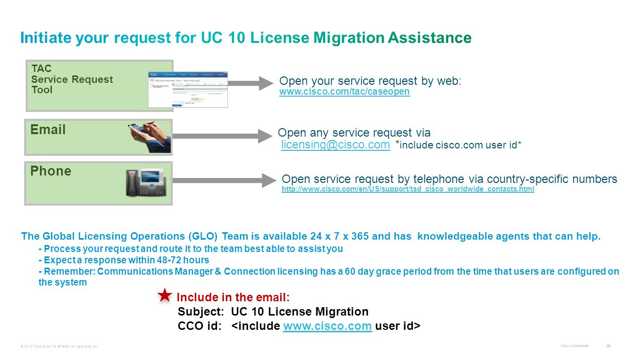 Initiate your request for UC 10 License Migration Assistance