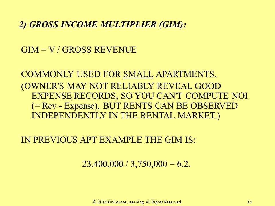 2) GROSS INCOME MULTIPLIER (GIM):