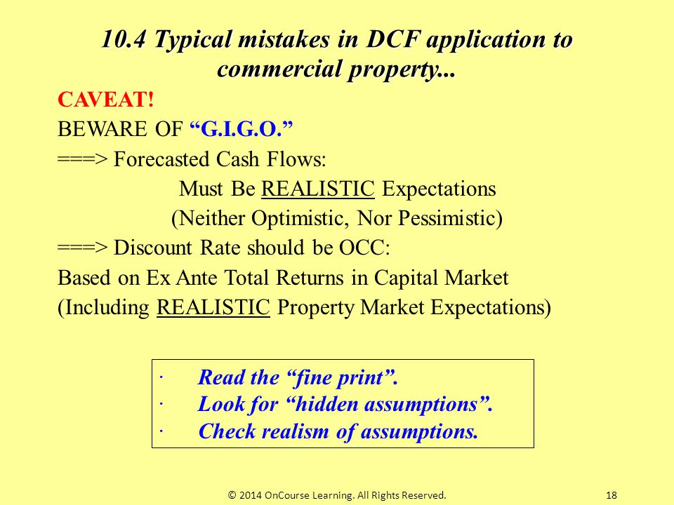 10.4 Typical mistakes in DCF application to commercial property...