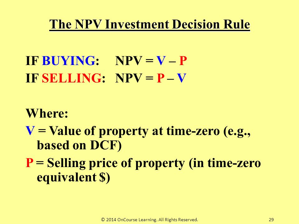 The NPV Investment Decision Rule