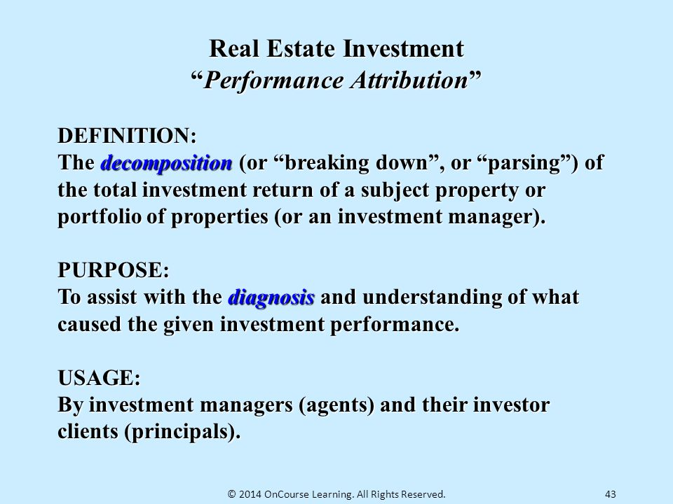 Real Estate Investment Performance Attribution