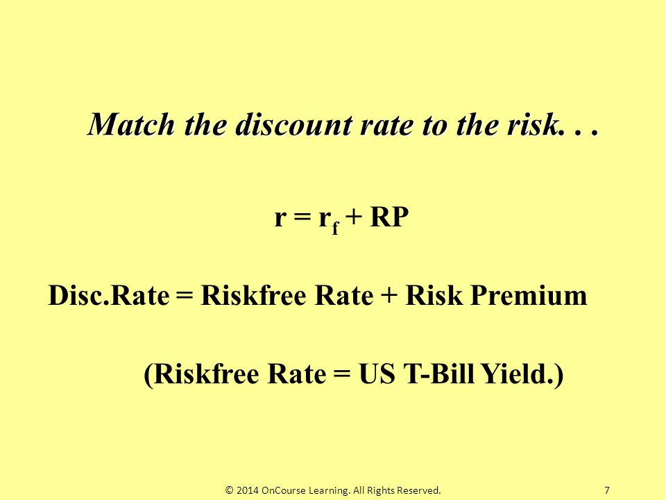 Match the discount rate to the risk. . .