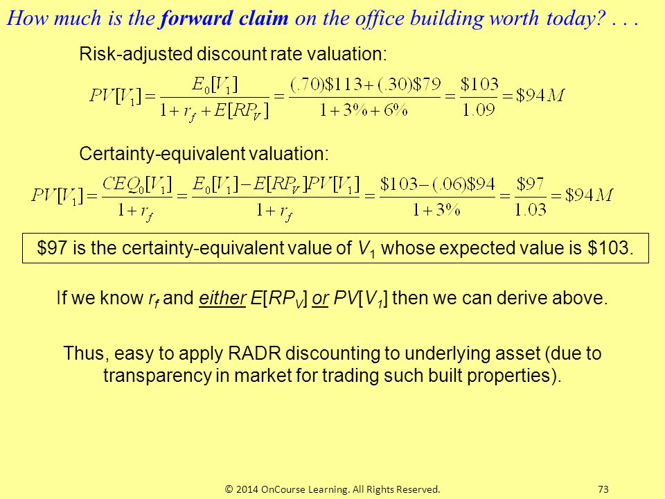 How much is the forward claim on the office building worth today . . .