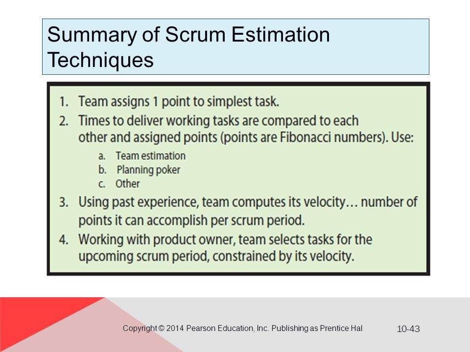 Summary of Scrum Estimation Techniques