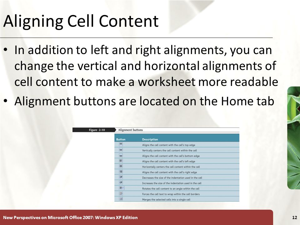 Aligning Cell Content