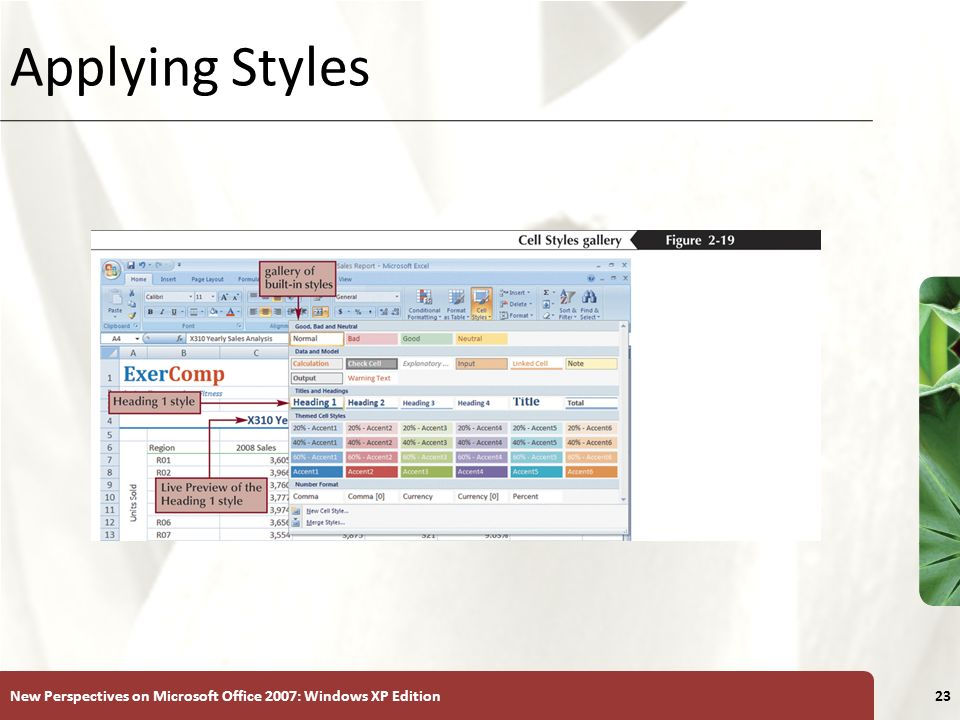 Applying Styles New Perspectives on Microsoft Office 2007: Windows XP Edition