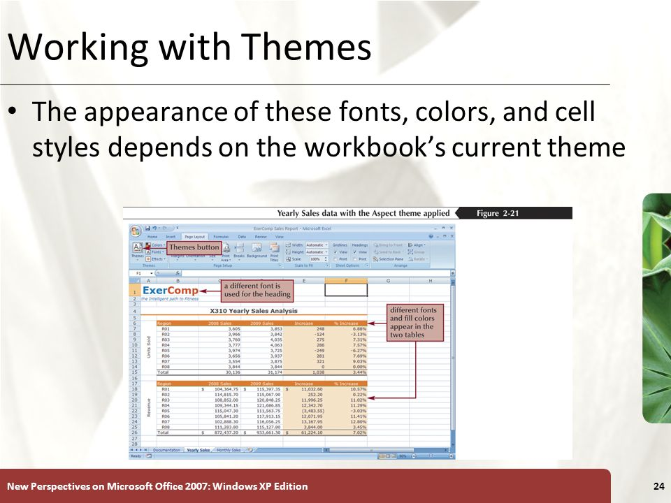 Working with Themes The appearance of these fonts, colors, and cell styles depends on the workbook's current theme.
