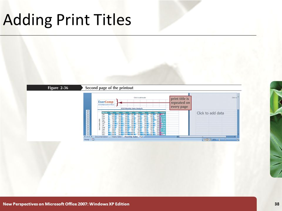 Adding Print Titles New Perspectives on Microsoft Office 2007: Windows XP Edition