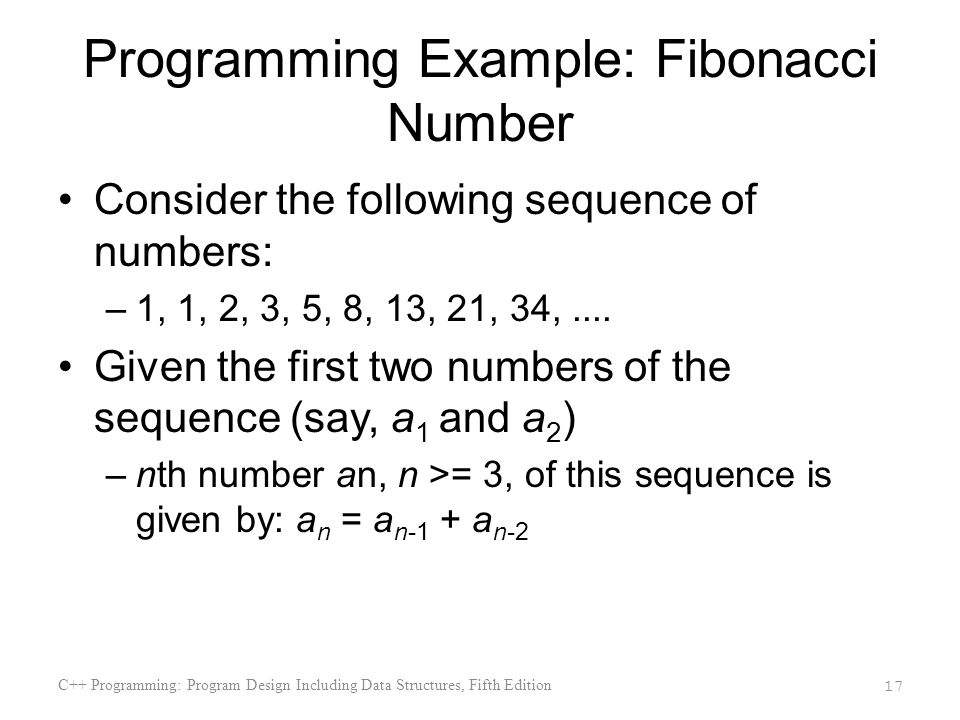 Programming Example: Fibonacci Number