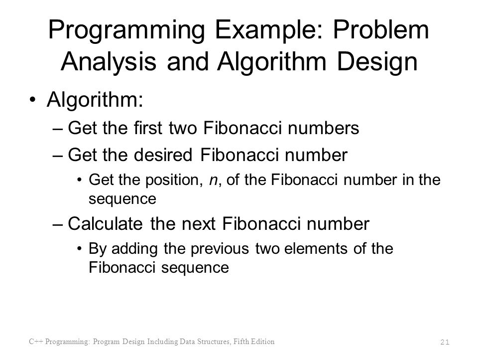Programming Example: Problem Analysis and Algorithm Design