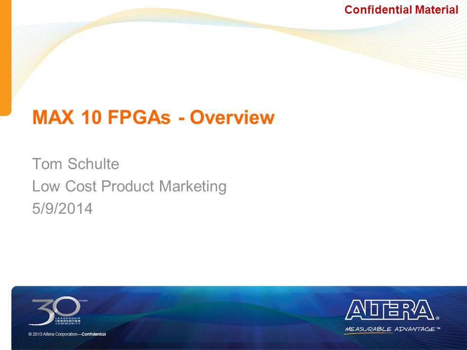 Tom Schulte Low Cost Product Marketing 5/9/2014