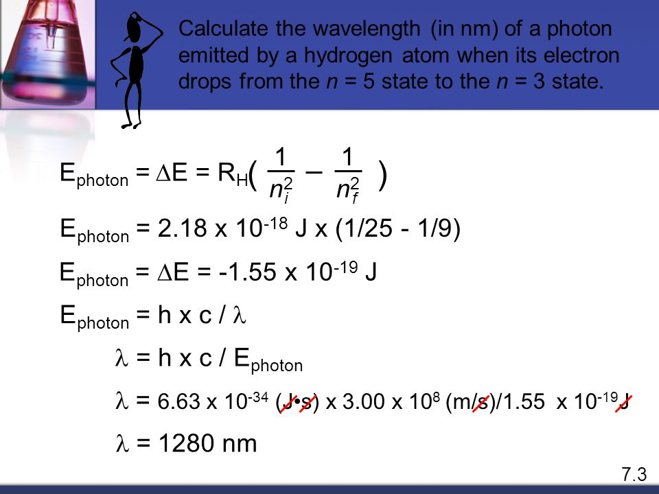 ( ) DE = RH 1 n2 Ephoton = Ephoton = 2.18 x 10-18 J x (1/25 - 1/9)