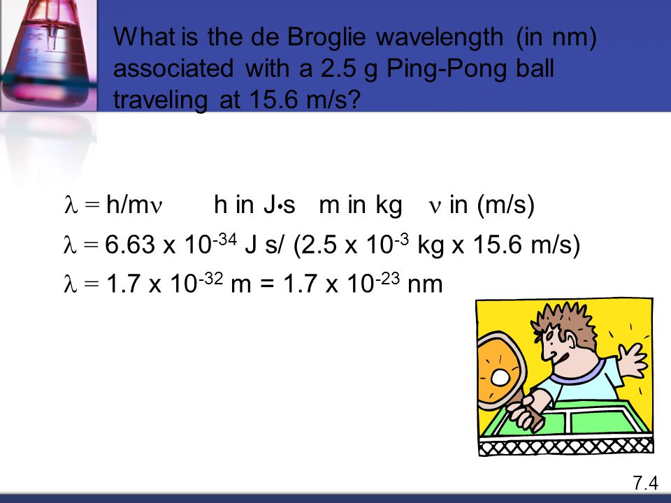 What is the de Broglie wavelength (in nm) associated with a 2