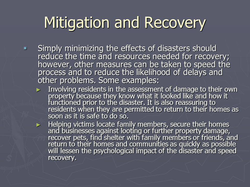 Mitigation and Recovery