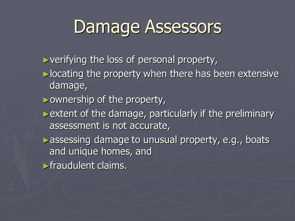 Damage Assessors verifying the loss of personal property,