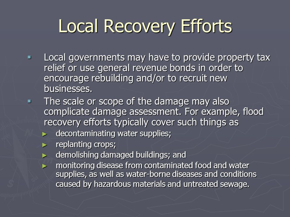 Local Recovery Efforts