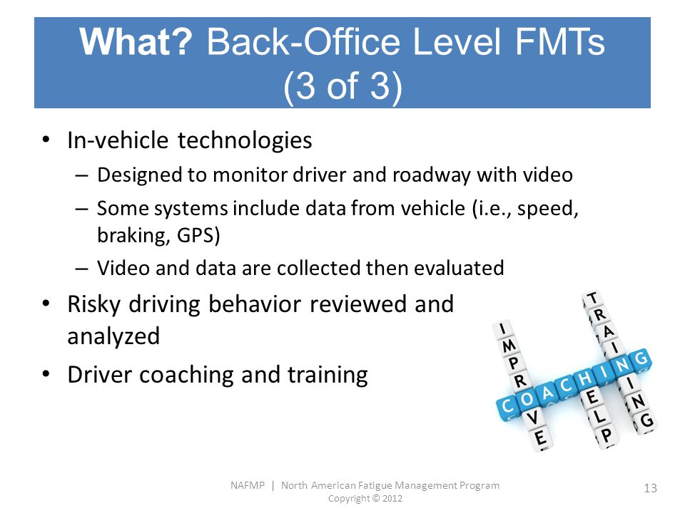 What Back-Office Level FMTs (3 of 3)