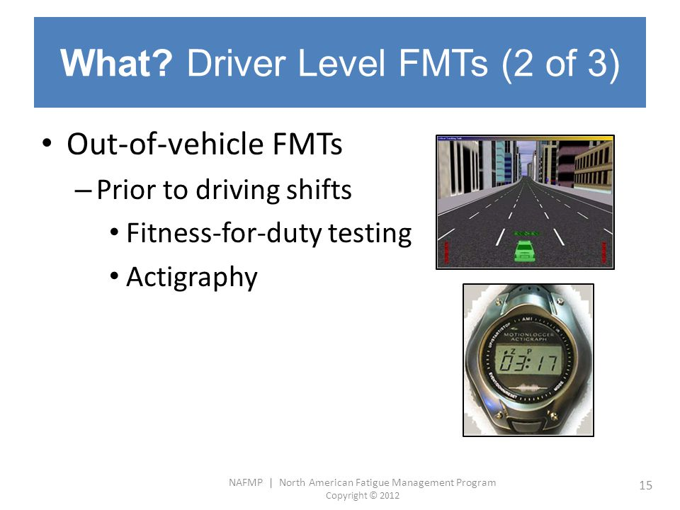 What Driver Level FMTs (2 of 3)