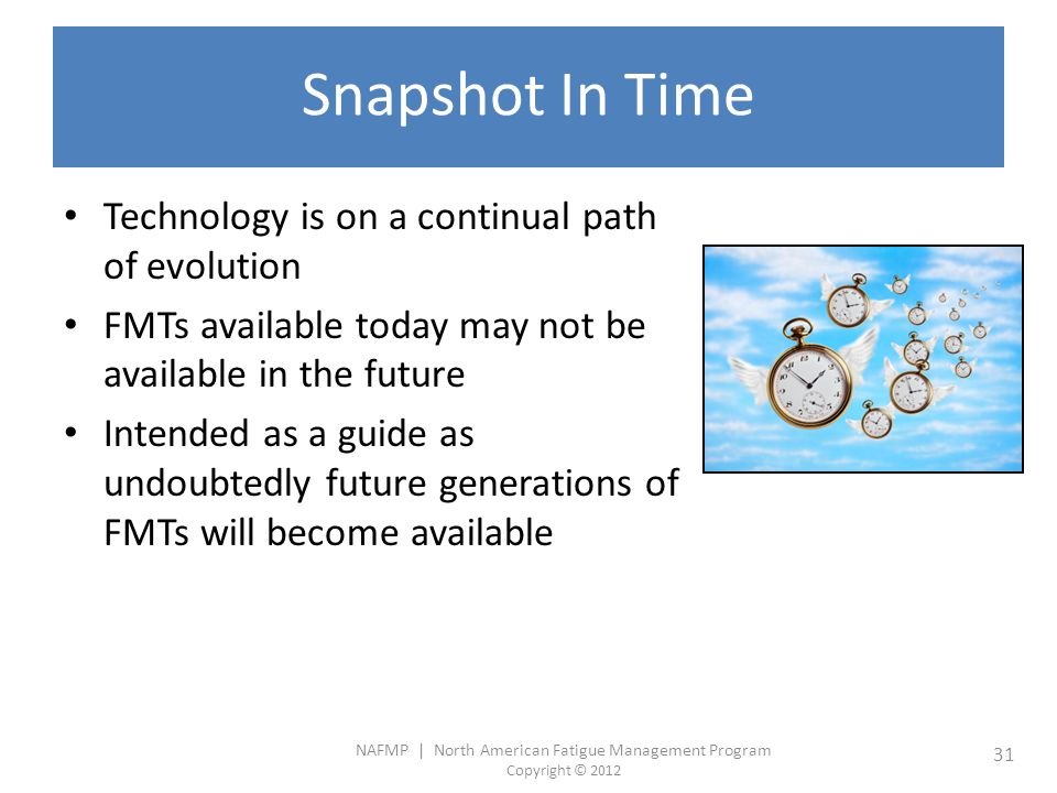 Snapshot In Time Technology is on a continual path of evolution
