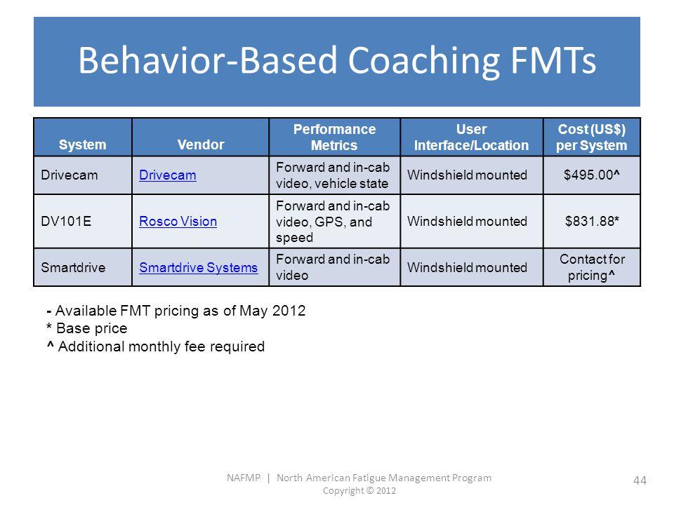 Behavior-Based Coaching FMTs