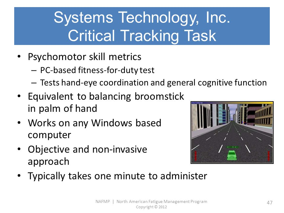 Systems Technology, Inc. Critical Tracking Task