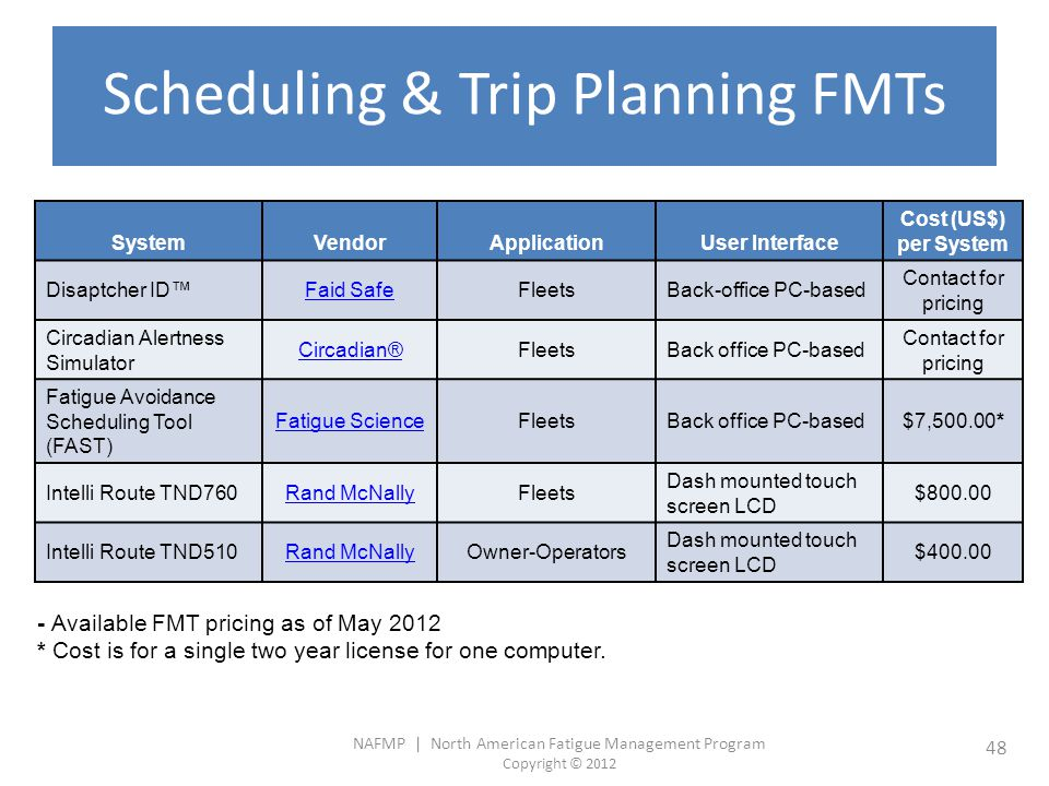Scheduling & Trip Planning FMTs