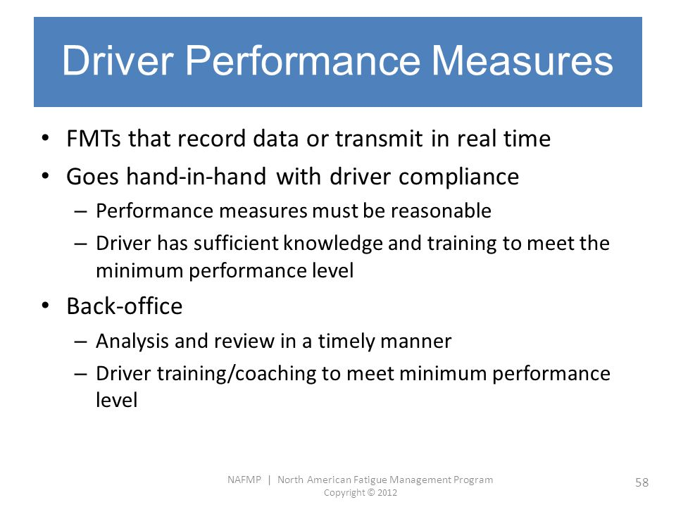Driver Performance Measures