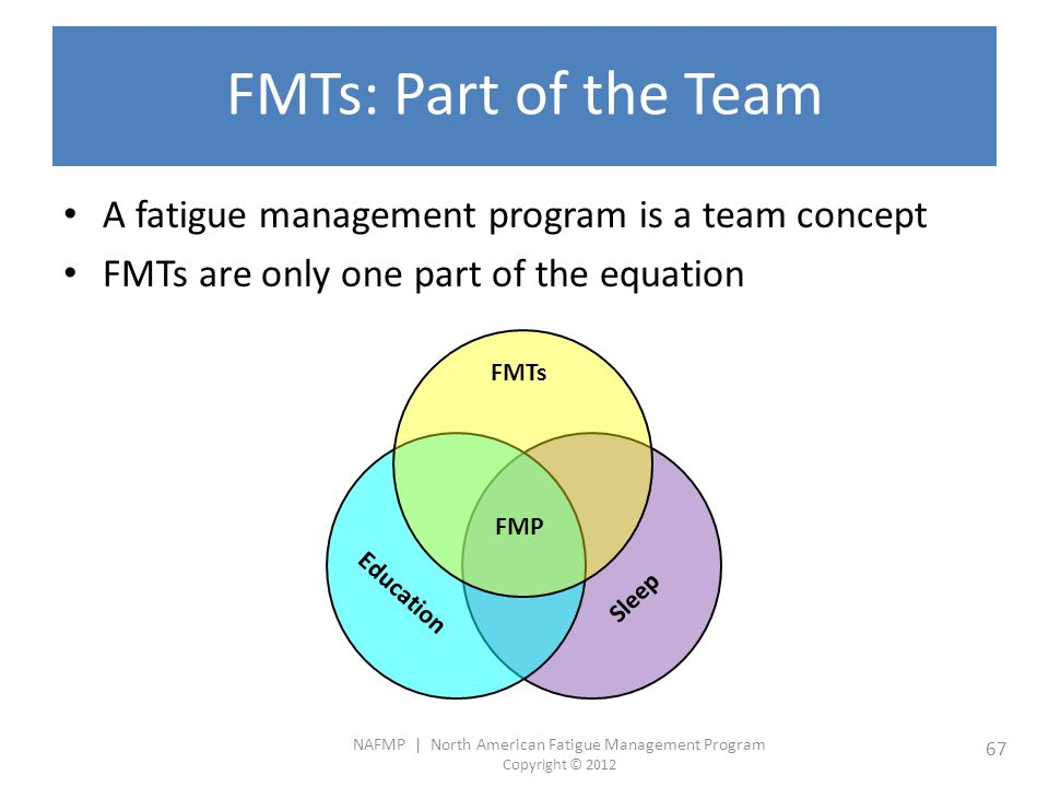FMTs: Part of the Team A fatigue management program is a team concept
