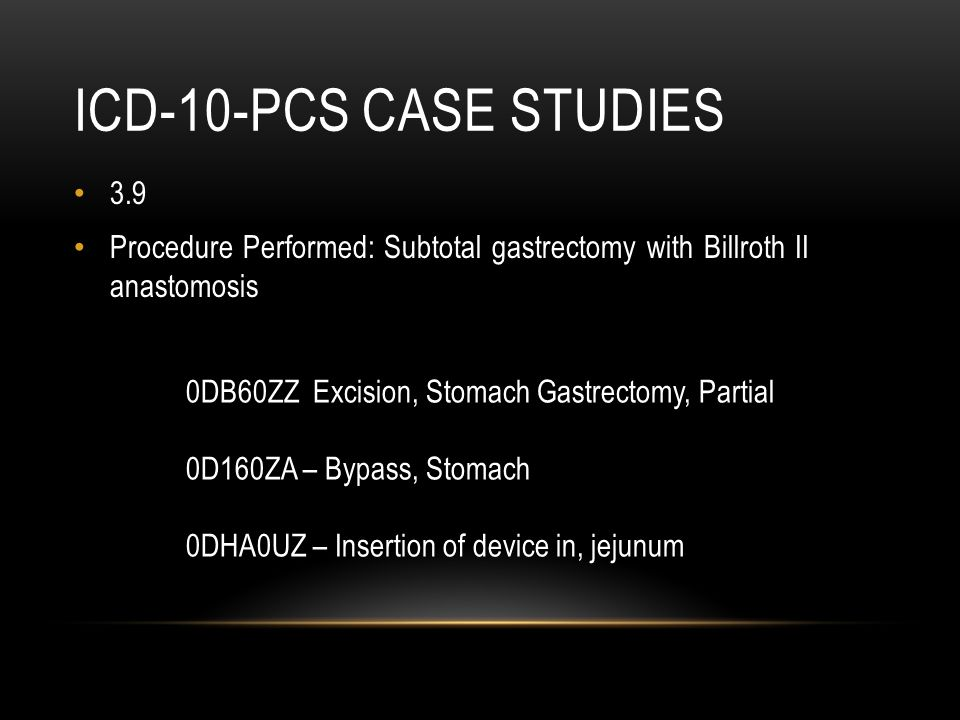 ICD-10-PCS Case studies 3.9. Procedure Performed: Subtotal gastrectomy with Billroth II anastomosis.