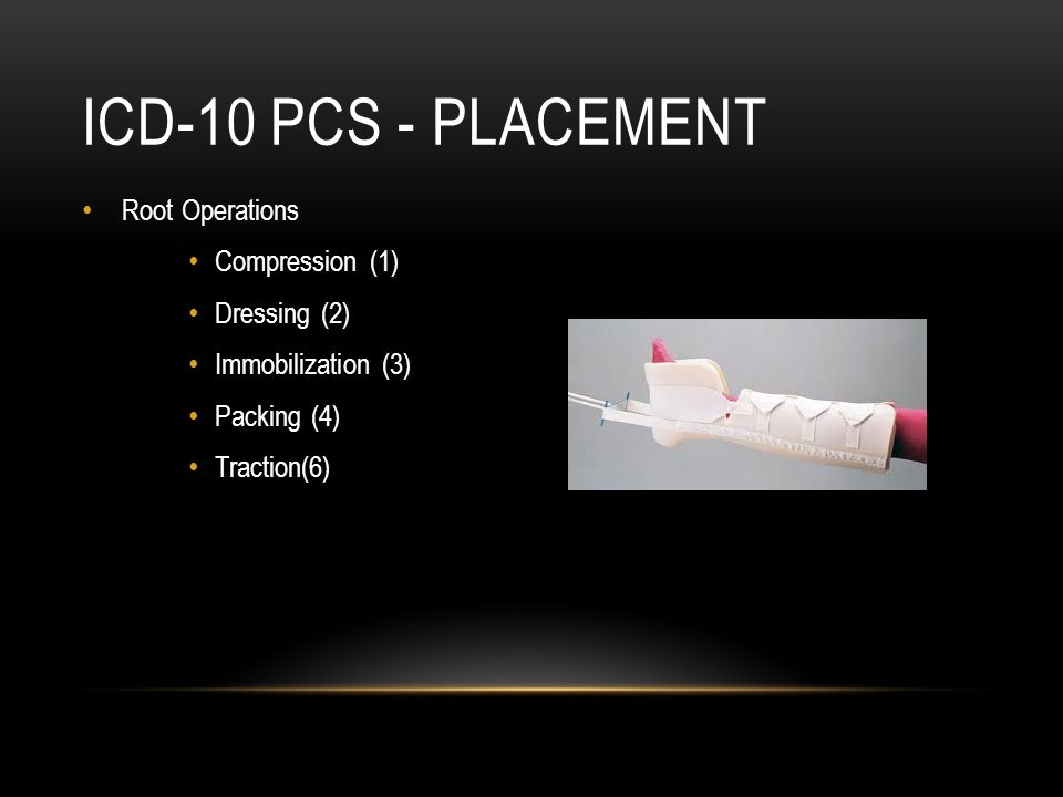 ICD-10 PCS - Placement Root Operations Compression (1) Dressing (2)
