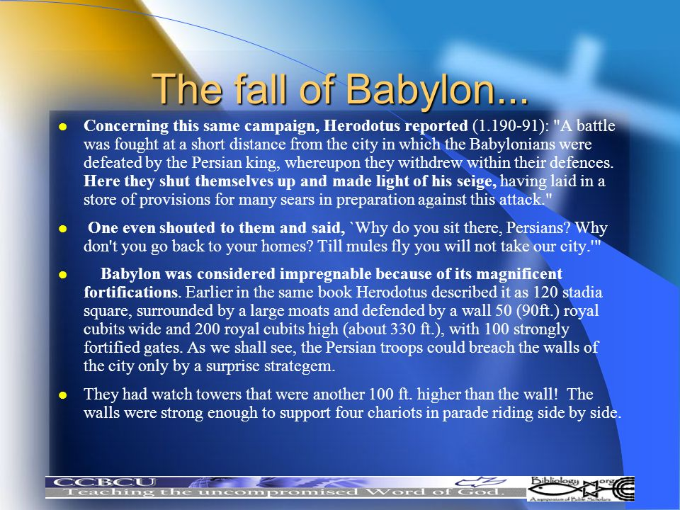 The fall of Babylon...