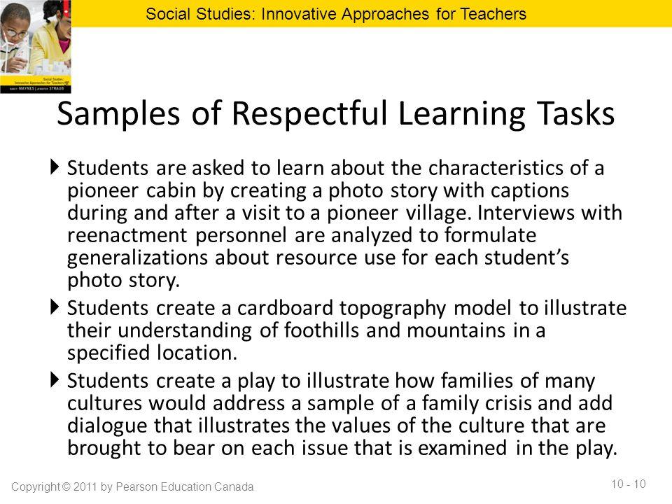Samples of Respectful Learning Tasks
