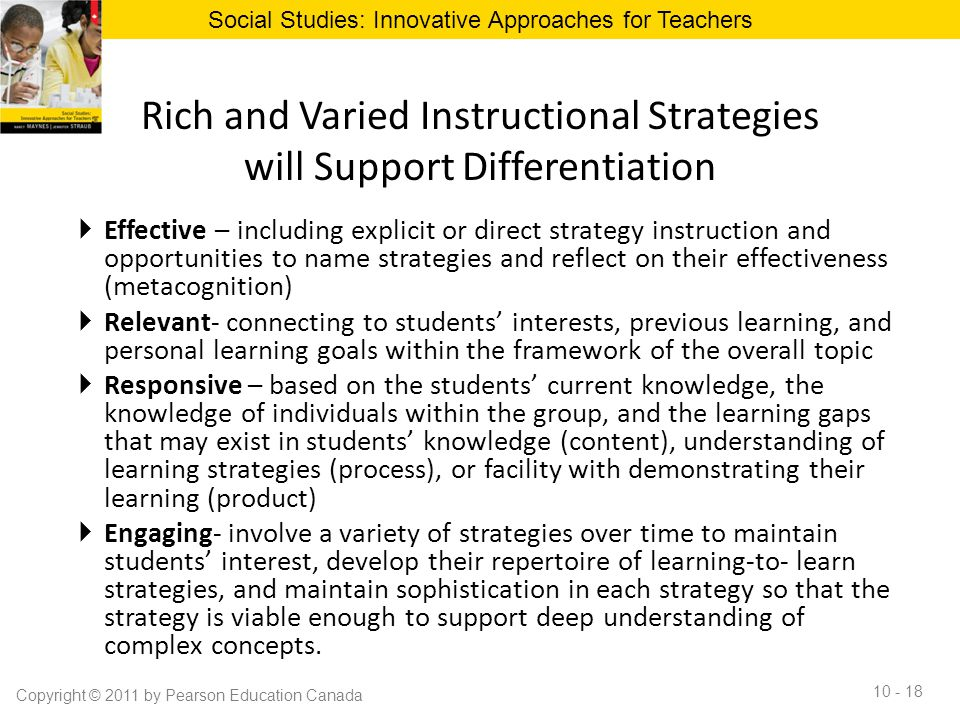 Rich and Varied Instructional Strategies will Support Differentiation