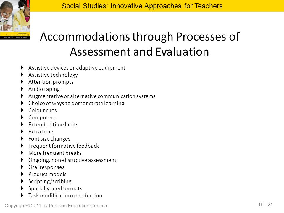 Accommodations through Processes of Assessment and Evaluation