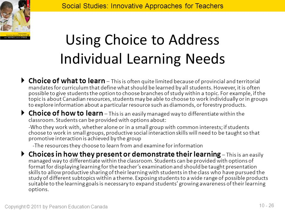 Using Choice to Address Individual Learning Needs