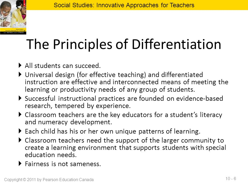 Innovative Classroom Practices ~ Chapter differentiation in the social studies
