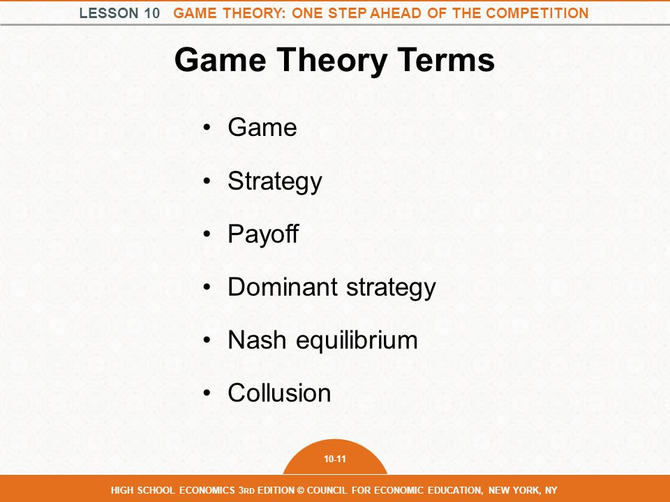 Game Theory Terms Game Strategy Payoff Dominant strategy